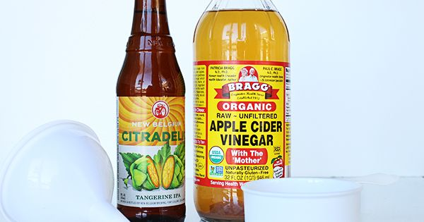 DIY Beer +ACV Hair rise  ¼ cup apple cider vinegar1 cup beer  Mix the two together and wash hair as usual. Pour over cleansed hair and massage into strands. Leave on for 5-10 min. before rinsing with warm water. Style as usual.