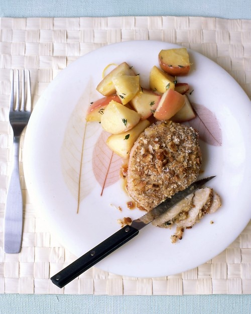 Baked Mustard-Coated Pork Chops - Martha Stewart Recipes  going to change it to panko bread crumbs but want to try this tonight