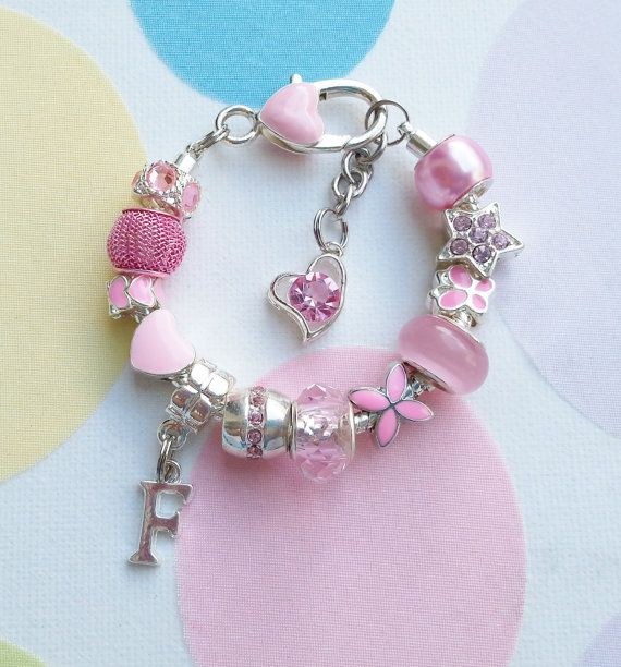 Beautiful Pink Beaded Personalized Initial Bracelet.  by SPOILTiAM