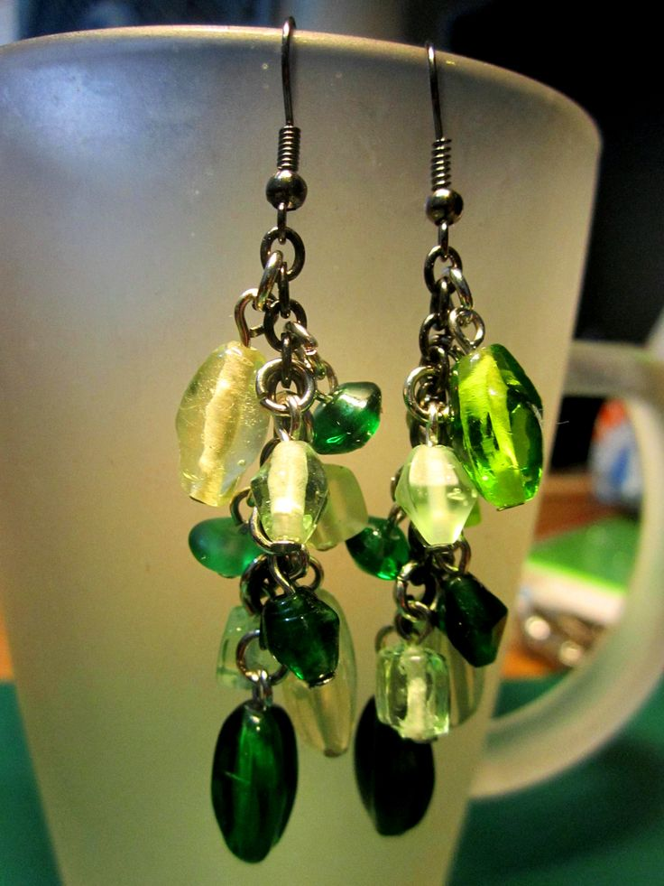 Green assorted acrylic drops #ilovegreens #acrylicbeads #beads #earrings #accessories