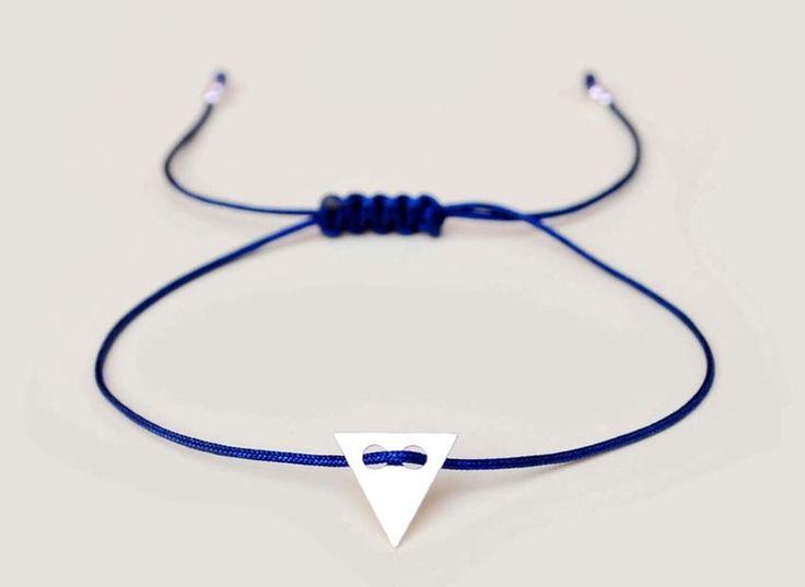 BRANSOLETKA  ze SREBRNYM trójkątem - różne kolory w euforio na DaWanda.com