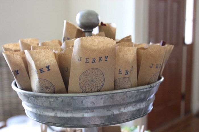 Treat bags from 1st Birthday Pow Wow at Kara's Party Ideas. See all the on point details at karaspartyideas.com!