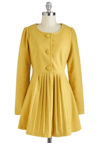 Silence is Goldenrod Coat, #ModCloth - and no wool. Yay! #vegan