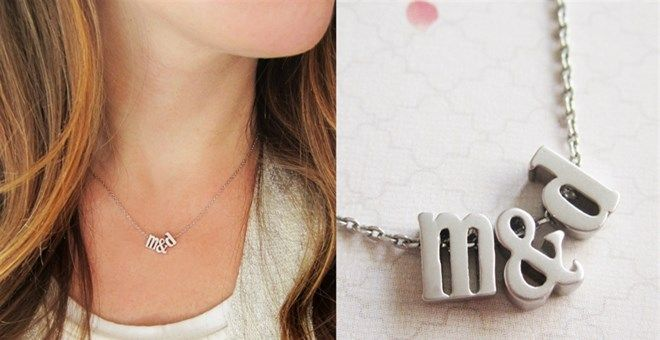 Tiny Gold or Silver Lowercase Initial & Ampersand Necklace