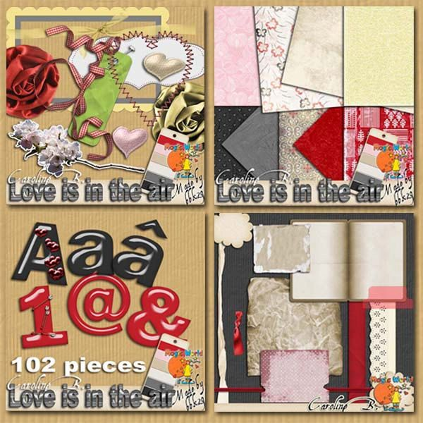 Love is in the Air Mega Bundle $6.39 USD (Downloadable Digital scrapbook kit) by CarolineBDesign on Etsy