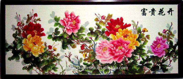 China Peony handmade tapestry floral decorative wall hanging crafts made in Yantai of Shandong