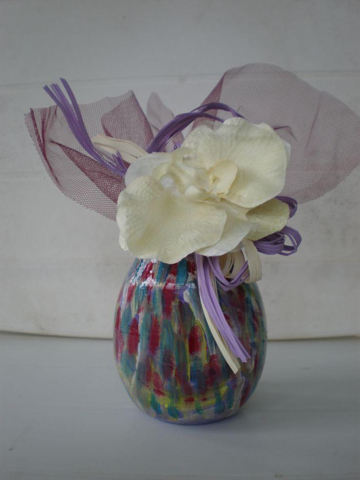 riciclo creativo vasetto da me dipinto con colori acrilici Dana mincione