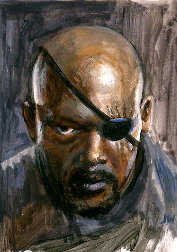 Nick Fury ACEO Samuel L. Jackson Avengers Sketch Card by Jeff Ward #nickfury #avengers #sketchcard #aceo #artwork #painting #samuelljackson #Realism