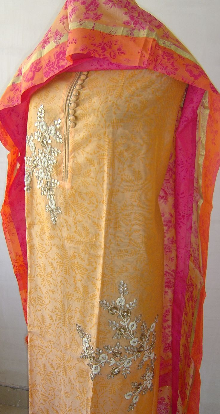 Chanderi suit with gota patti work & pearl embroidery with printed dupatta.  For orders and inquiries, please mail us at naari@aninditacreations.com.  Like us at www.facebook.com/naari.aninditacreations
