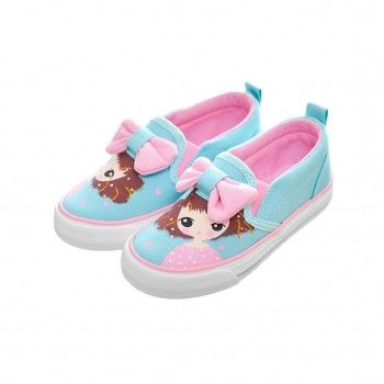 Bow-Accent Pretty Girl Slip-On Shoes in Blue for Toddler & Girls