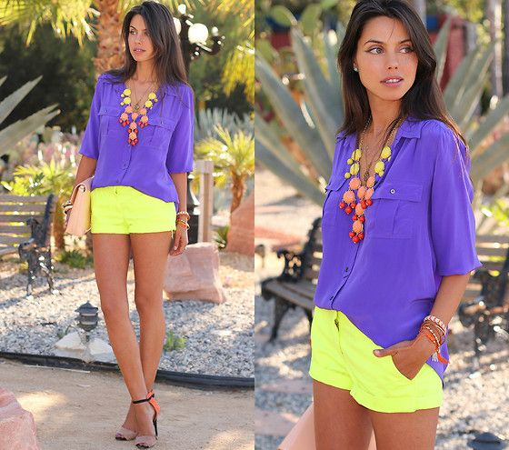 Purple button down shirt, neon yellow shorts, orange + black + nude heels, yellow/orange/red accessories, nude clutch