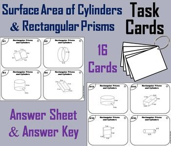 Surface Area of Cylinders and Rectangular Prisms : These task cards are a great way for students to have fun while they practice their skills with calculating surface area.  Step-by-Step answers are provided for each question.Important: If you enjoyed this product, check out my other Math Task Cards:Grades 1-3: Get all 18 (35% OFF) in the Bundle!