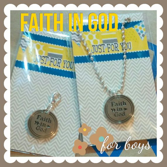 Faith in God custom charm for boys, zipper pull, necklace on ball chain, LDS award, LDS Primary charm, carded and bagged, religious charm