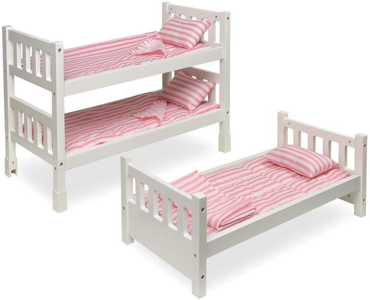 Badger Basket 1 2 3 Convertible Doll Bunk Bed In White With Pink