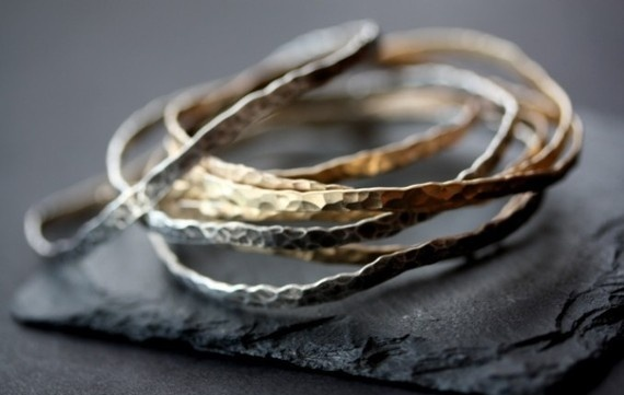 I love hammered metal. Bracelets by LexLuxe on Etsy.