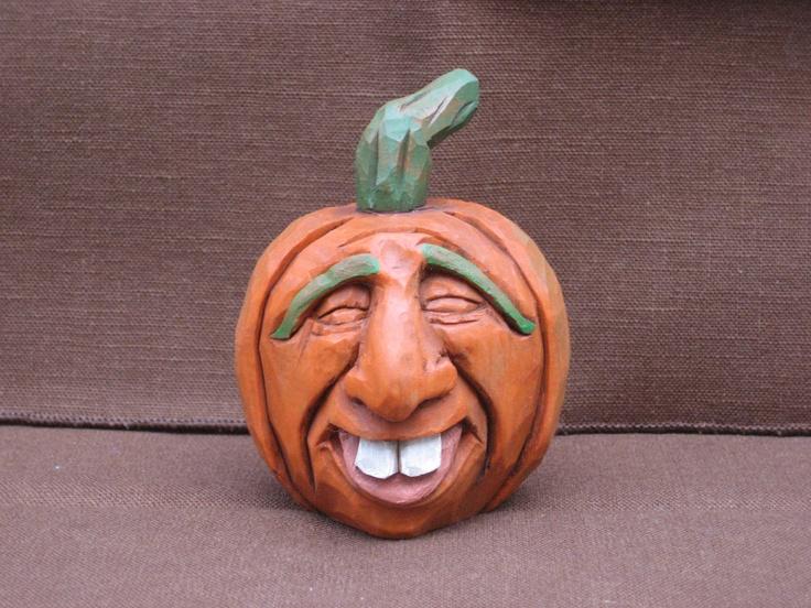 Hand carved halloween pumpkin jack o lantern via