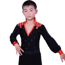 Rojo para hombre ropa baile para niños manga larga de baile latino latina práctica américa disfraz servicio(China (Mainland))