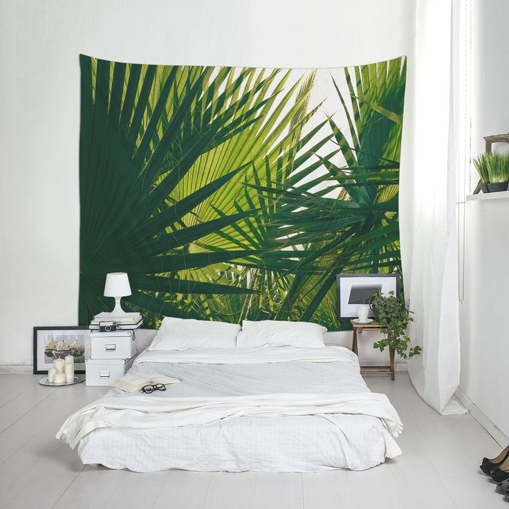 Palm Leaf Tapestry, Dorm Decoration, Green Decor, Home Decorating, Affordable Wall Art, Fabric Tapestry by Macrografiks on Etsy