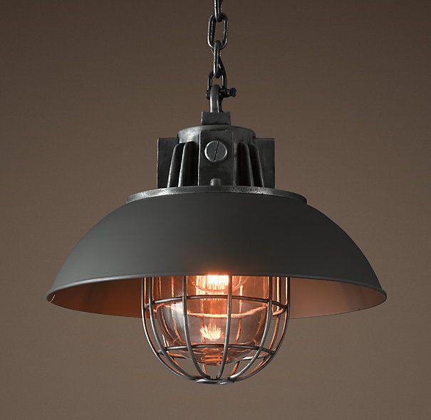 Lighting For Basement: European Factory Caged Pendant - Black