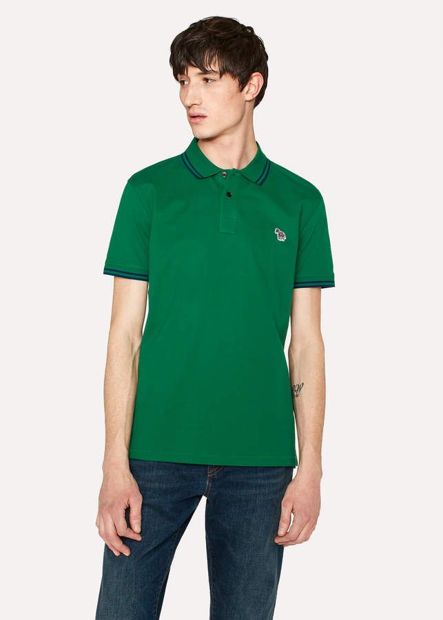 8a58fe402 Ps Paul Smith Men s Slim-Fit Green Zebra Logo Polo Shirt With Navy Tipping