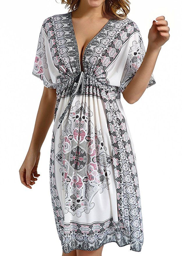 Womens Beach Bikini Cover-ups Embroidered with Artistic Designs Loose Chiffon Beach Dress Outwear Casual Swimwear Long Cover-ups One Size