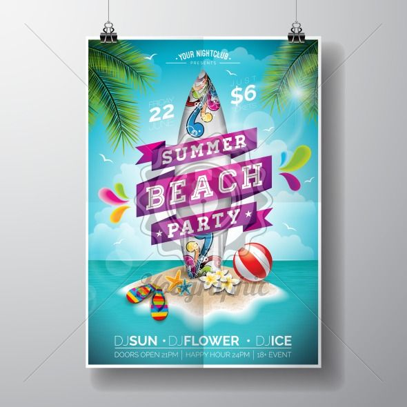 Vector Summer Beach Party Flyer Design with surf board and paradise island on ocean landscape background. Typographic design on banner. - Royalty Free Vector Illustration