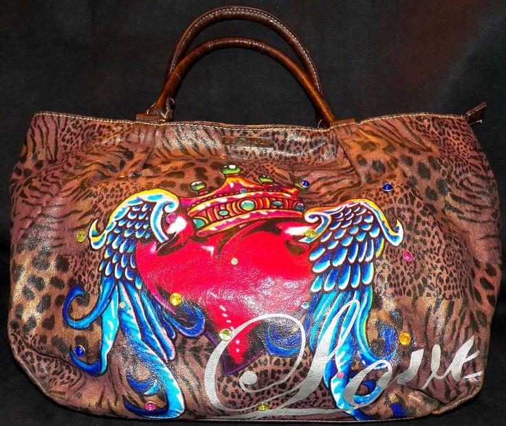 Ed Hardy Animal Leopard Print Heart Tattoo Bling Love Shopper Tote Handbag Purse #EdHardy #TotesShoppers