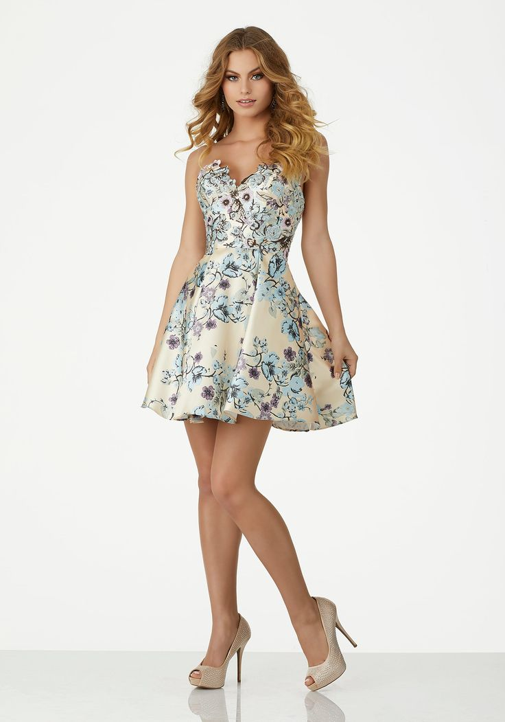 Floral Printed Larissa Satin Cocktail Dress with Beaded Embroidery | Style 33023 | Morilee