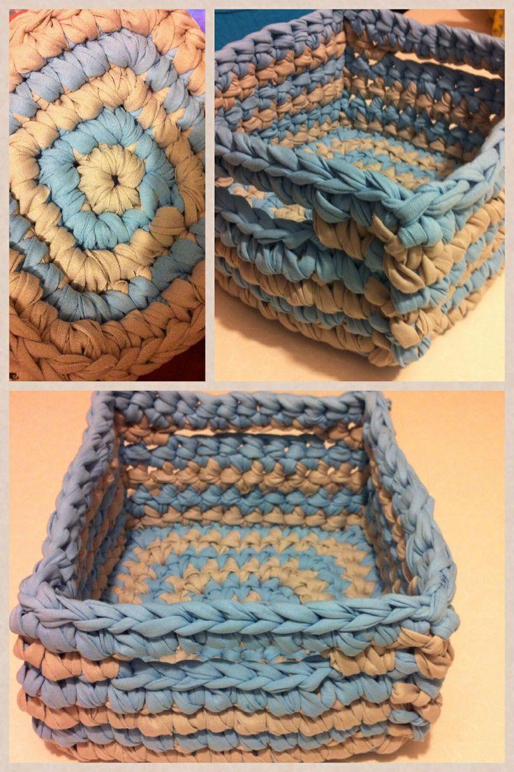 A big crochet square basket
