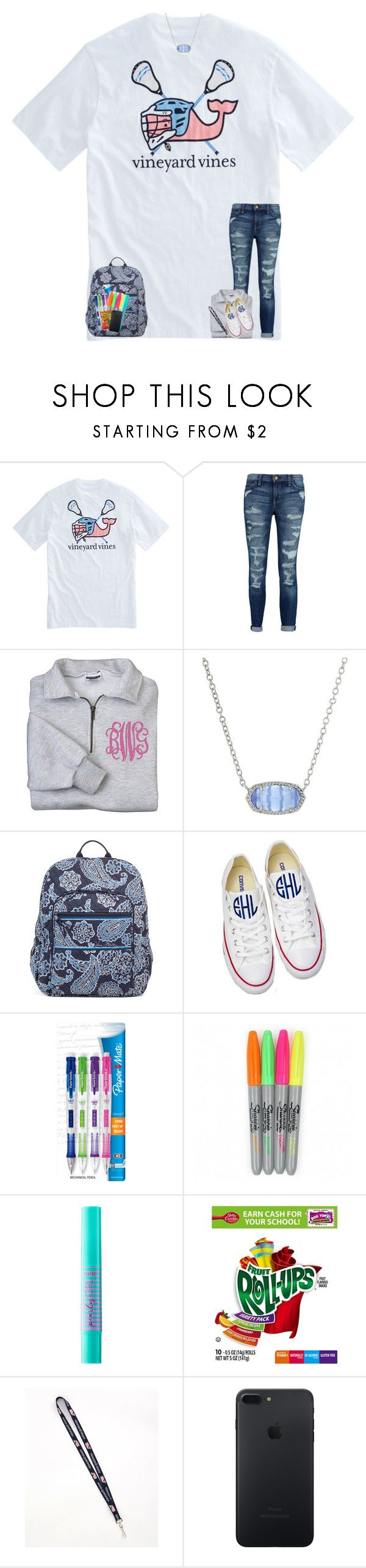 """""""back to school contest """" by preppy-southerngirl ❤ liked on Polyvore featuring Vineyard Vines, Current/Elliott, Kendra Scott, Vera Bradley, Converse, Paper Mate and tarte"""
