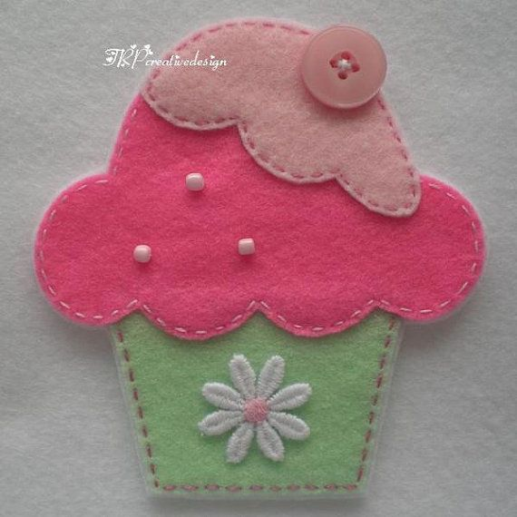 Handmade Cupcake Felt Applique Big  Double by TRPcreativedesign01, $4.00