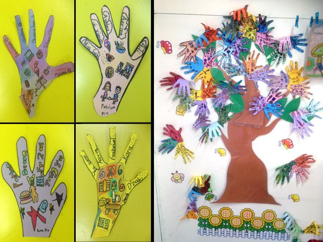 Art from first and second graders for 'Racial Harmony Day'.  Handprints form the leaves of a tree.