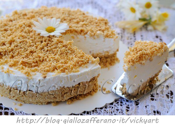Cheesecake kinder paradiso sbriciolata torta fredda - vickyart arte in cucina