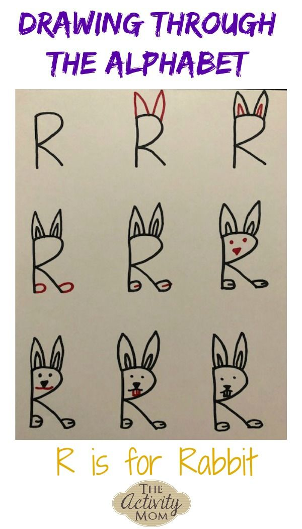 Drawing Through The Alphabet Letter R The Activity Mom Lettering Alphabet Alphabet Drawing Drawing Lessons For Kids