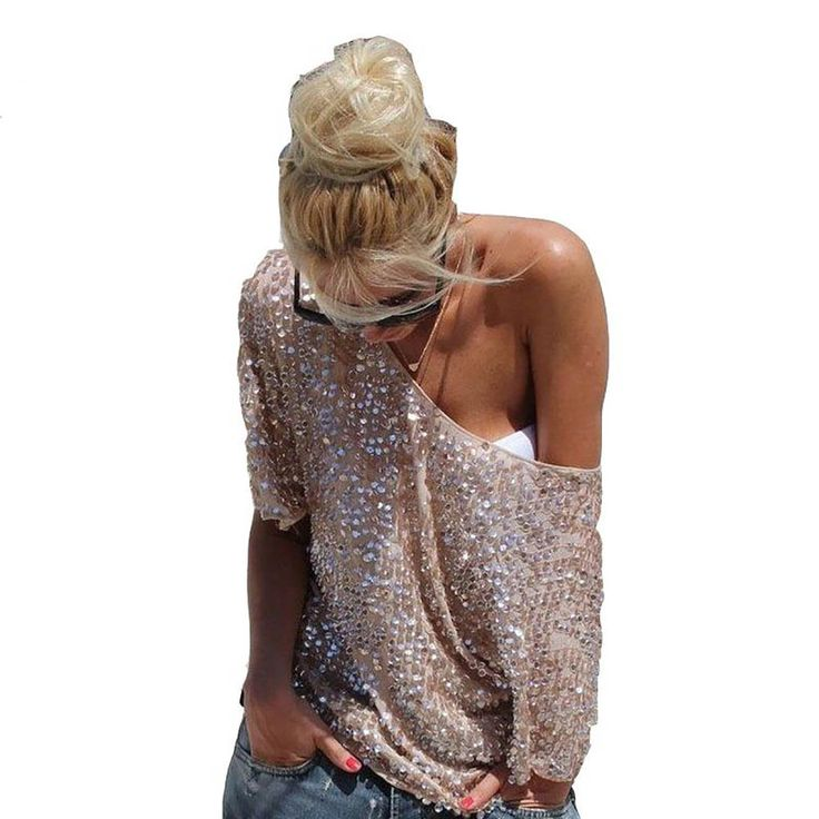 Find More T-Shirts Information about 2017 Women Summer Fashion Sequins T Shirt Loose Bling Beads Blusas Tops Camiseta Sexy off the shoulder Plus Size T Shirt ,High Quality sexy off shoulder,China plus size t-shirt Suppliers, Cheap t shirt loose from malenna Store on Aliexpress.com