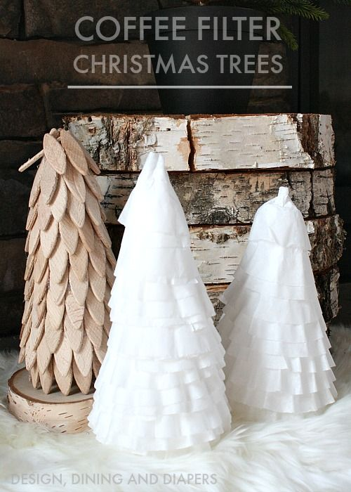 Coffee Filter Christmas Trees made from dollar store finds!