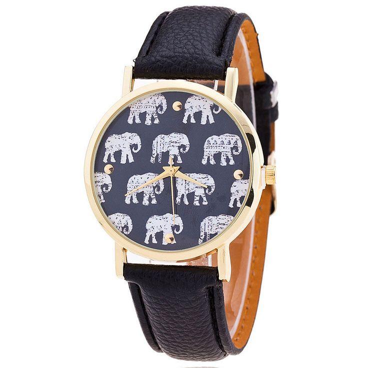 Купить Мода слон шаблон часы кожаный ремешок женщины наручные кварцевые часы Relogio Feminino подароки другие товары категории Модные часыв магазине aiwiseнаAliExpress. ремешок гонконг и смотреть katekyo hitman reborn