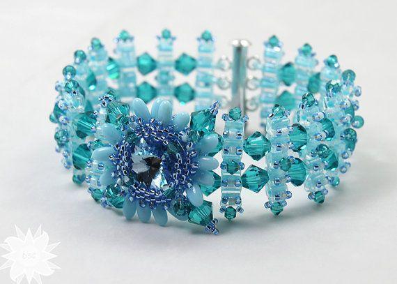 Aquamarine Light Blue Ladder Stitched Bracelet, Swaorvski Crystal Flower Focal Watch Band Bracelet
