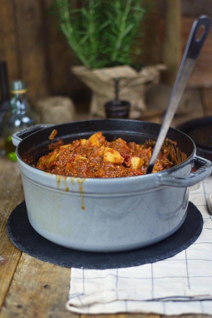 Bauerntopf - Tomaten Kartoffel Topf mit Hackfleisch - Minced Meat Tomato Stew with Potatoes and red pepper (13)