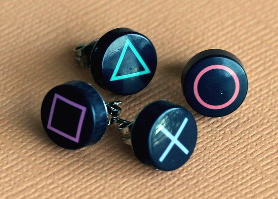Playstation Button Earrings Set of 4 by resetbuttons on Etsy, $10.00    @Meghan Spivey, we could totally make these and sell them! :D