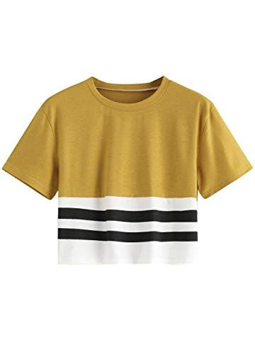 beaa9d0c5642 MakeMeChic Women s Short Sleeve Color Block Loose Summer Crop Top Tee Shirt