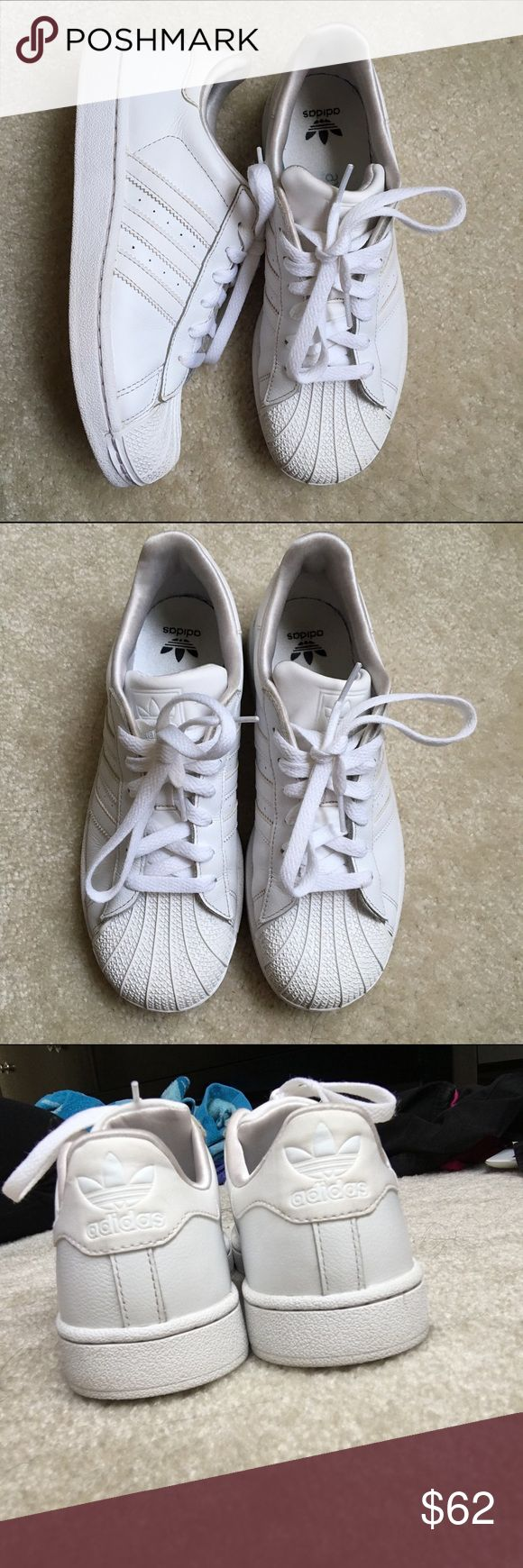 White Adidas Superstars Authentic, old school vintage adidas superstars great trendy shoes with orthopedic insoles, size 5 in youth/boys but fits 6-6.5 in womens Adidas Shoes Sneakers