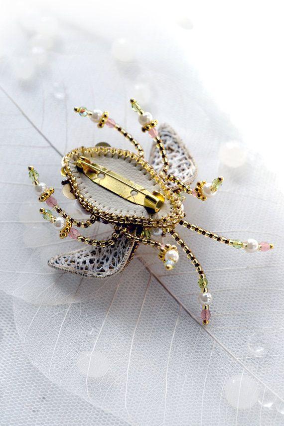 Beetle Brooch Hand embroidered Designer от PurePearlBoutique