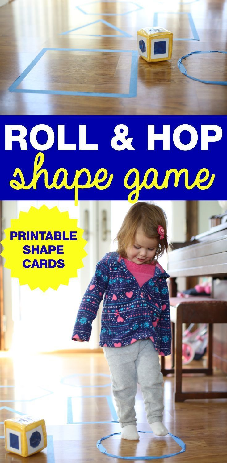 This Roll and Hop Shape Game for Toddlers is the perfect way to introduce shapes while also encouraging gross motor development.  Download our free shapes printable to make this activity even easier!