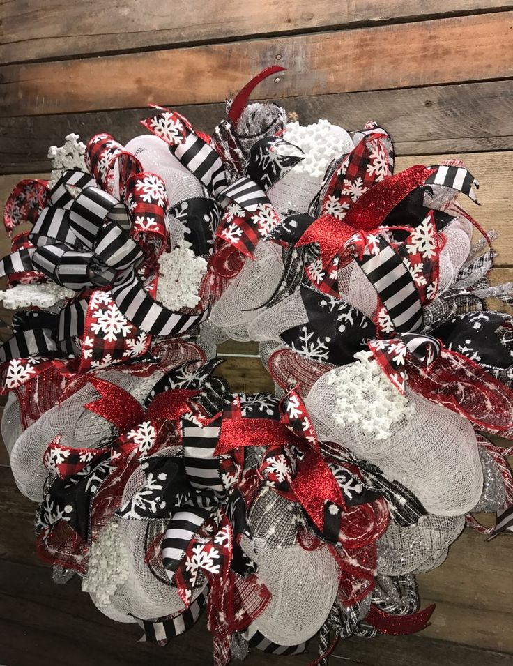 Winter Wreath, Holiday Wreath, Holiday Deco Mesh Wreath, Decorative Wreath, Winter Door Wreath, Snowflake Wreath, Winter White Wreath, Black and Red Wreath, Door Wreath, Winter Home Décor, Christmas Gift, Housewarming Gift