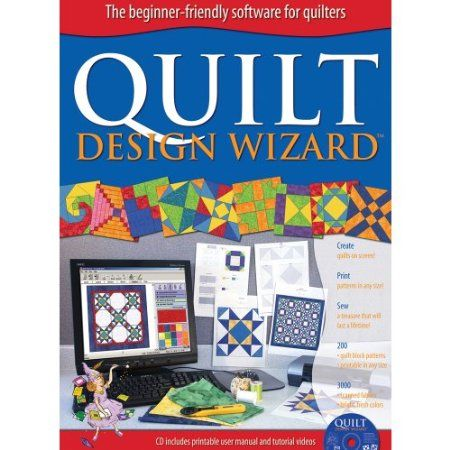 The Electric Quilt Co. Quilt Design Wizard- Does Quilt Design Wizard replace EQ5 or EQ6? No, this is a software for beginning quilters and beginning computer users. An inexpensive way for you to try quilt designing on your computer for the first time. Design simple pieced blocks, straight layouts, on-point layouts, and play with color. This is definitely designed for beginners. Requires Windows 98/2000/ME/XP/Vista/7. Made in USA.