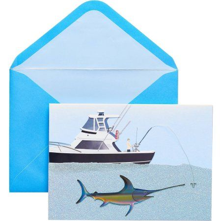 Papyrus Greeting Card, 5 inch x 7 inch, Marlin Fishing with Glitter, Multicolor