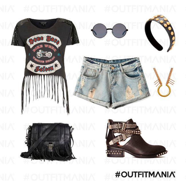 Concerto rock | Shorts in denim washed, una t shirt con frange e degli ankle boots... |  #outfitmania #outfit #style #fashion #dresscode #amazing #rock #Chicnova #topshop #top #Nastygal #Campbell # Shades #cool #musthave | CLICCA SULLA FOTO PER SCOPRIRE L'OUTFIT E COME ACQUISTARLO
