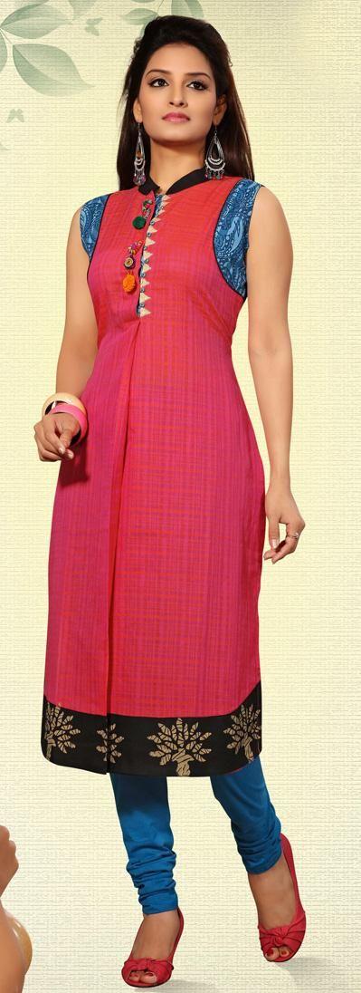 USD 99.34 Pink Cotton Printed Designer Kurti 28628