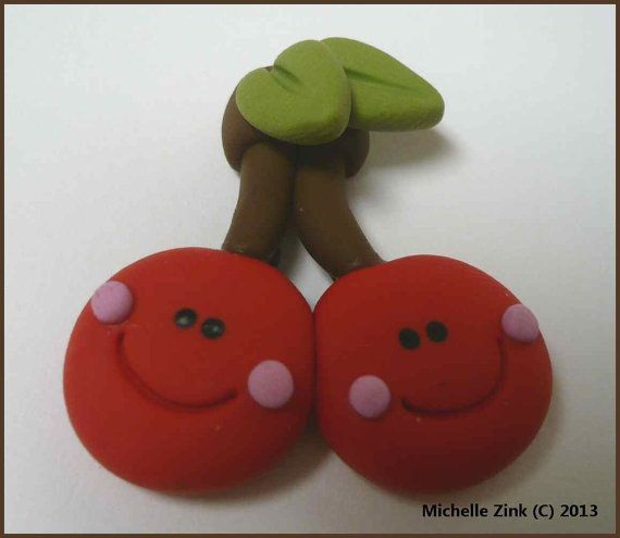 NEW+Polymer+Clay+Cherries+Pendant+by+michellesclaybeads+on+Etsy